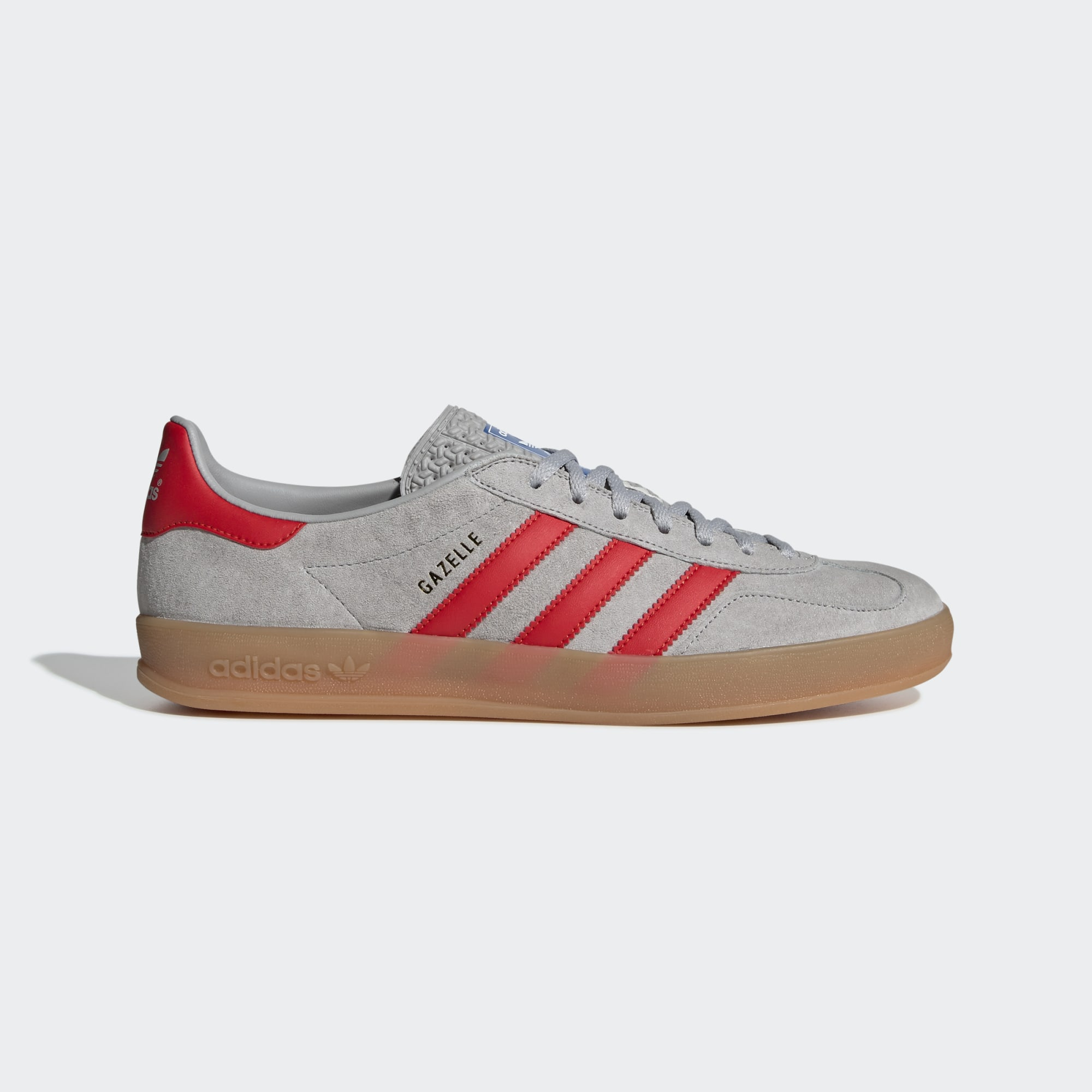 Adidas Gazelle Indoor Shoes - Grey Two / Active Red / Bluebird