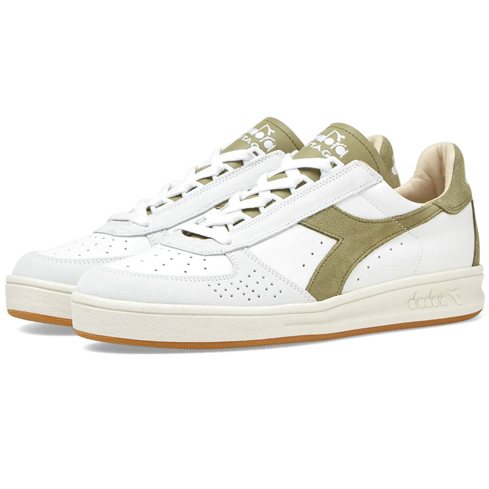 Diadora B.Elite - Made In Italy - White / Green Dried Herb