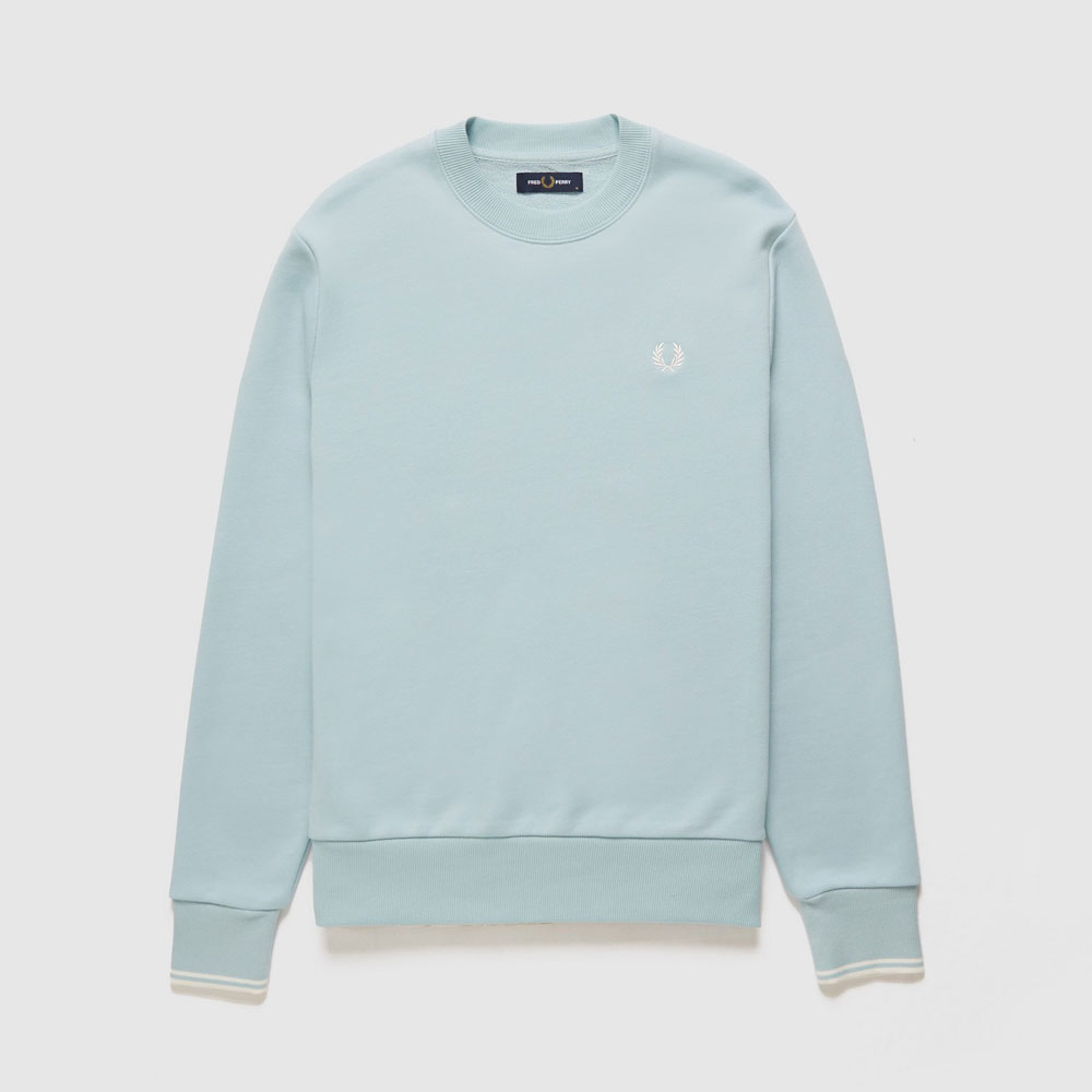 Fred Perry Twin Tipped Crew Sweatshirt - Light Blue