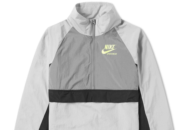 Nike Half Zip Archive Jacket - Wolf Grey / Volt / Black