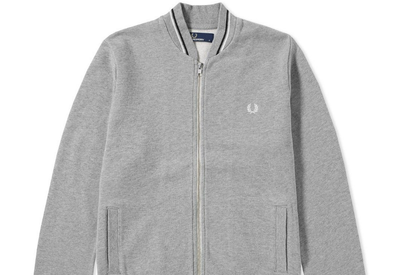 Fred Perry Bomber Neck Zip Sweat - Steel Marl