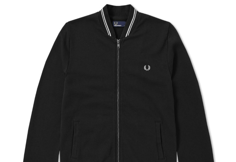 Fred Perry Bomber Neck Zip Sweat - Black