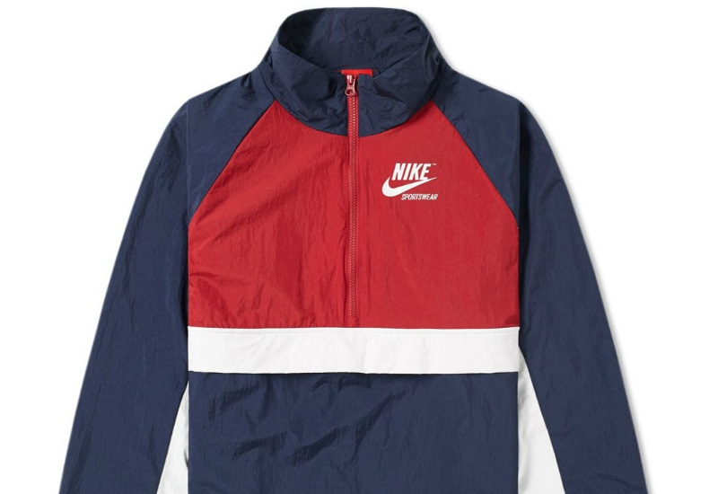 Nike Half Zip Archive Jacket - Obsidian / Tough Red / Sail