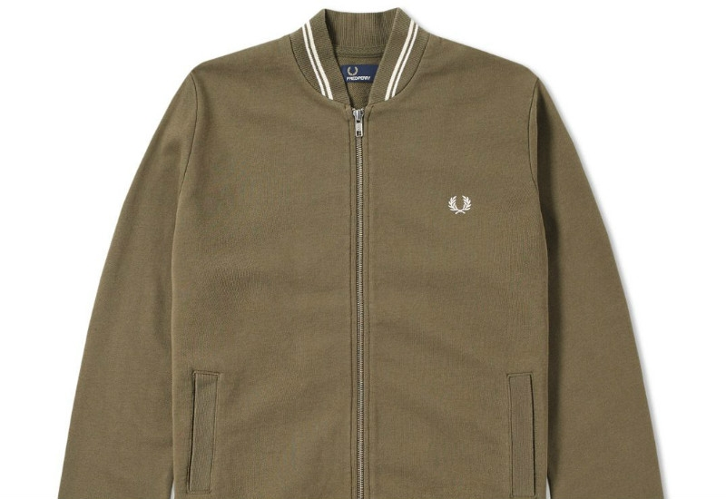 Fred Perry Bomber Neck Zip Sweat - Iris Leaf