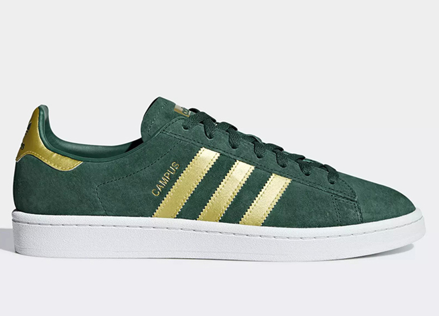 Adidas Campus Shoes - Collegiate Green / Matte Gold / Ftwr White
