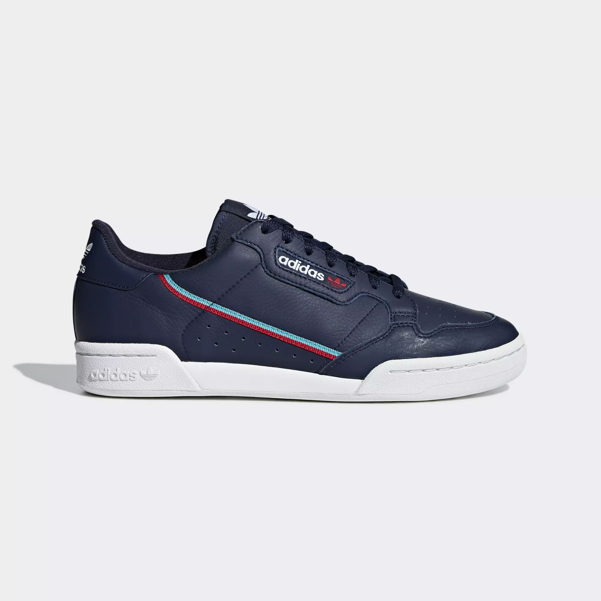 Adidas Continental 80 Shoes - Collegiate Navy / Scarlet / Hi-Res Aqua
