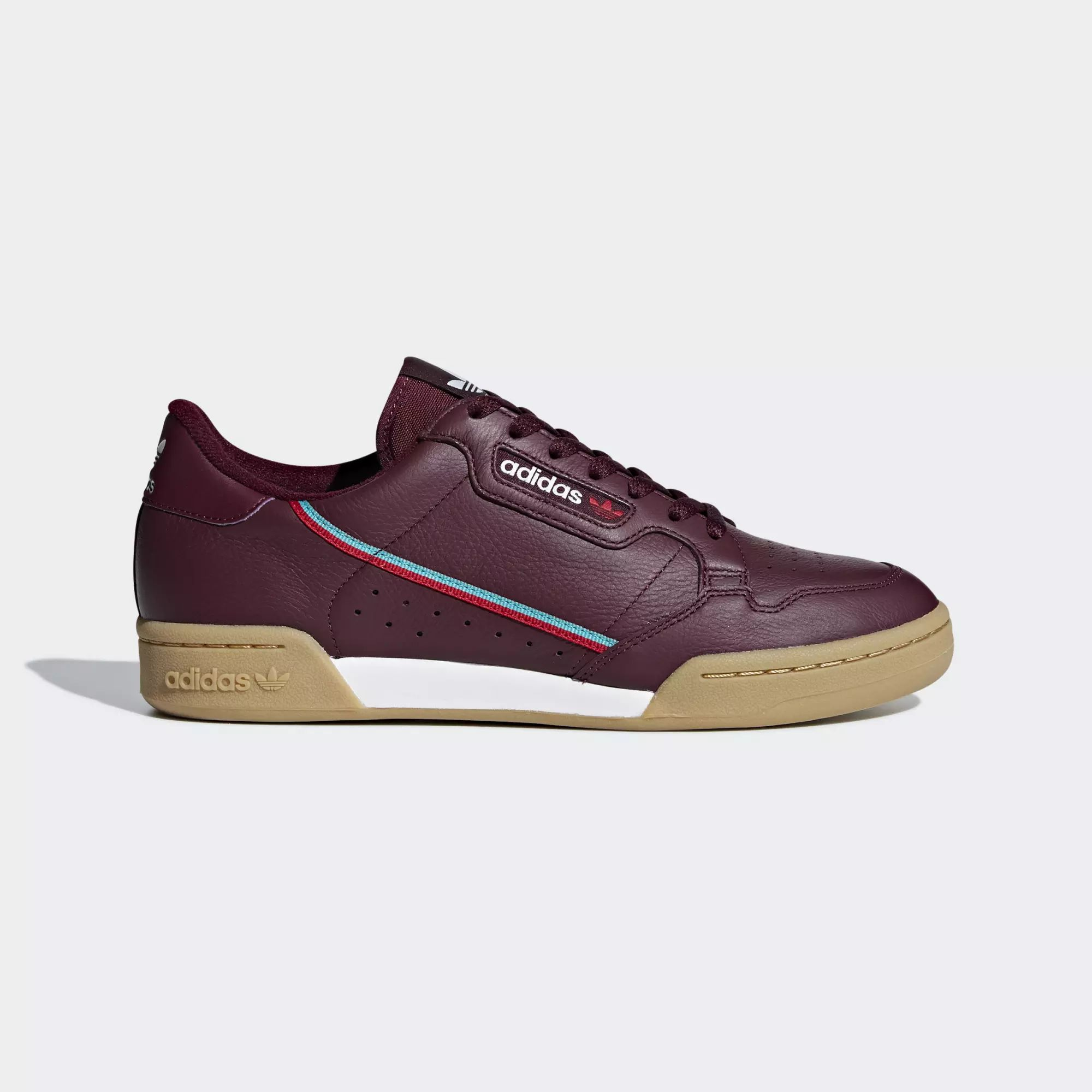 Adidas Continental 80 Shoes - Maroon / Scarlet / Hi-Res Aqua