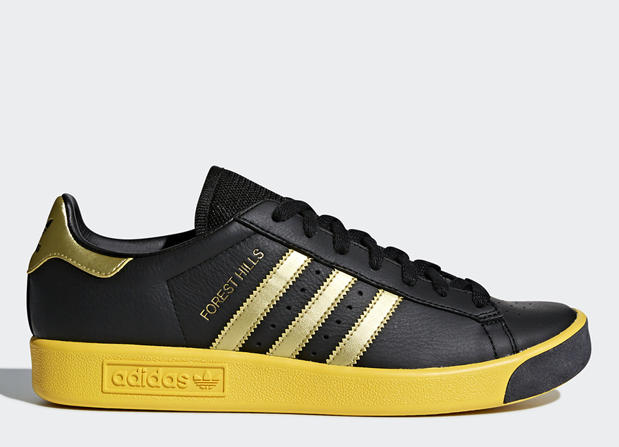 Adidas Forest Hills Shoes - Core Black / Gold Metallic / Eqt Yellow