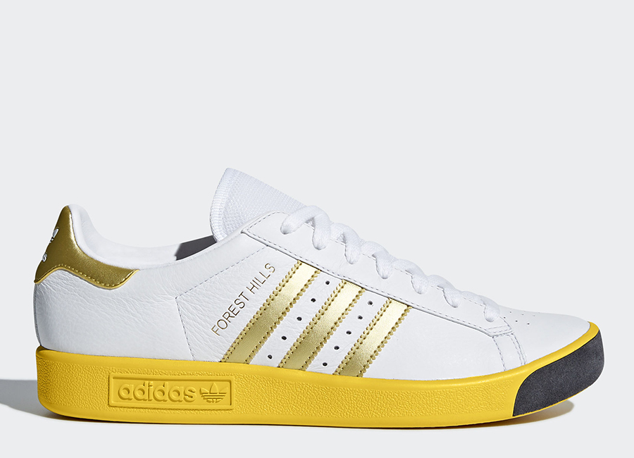 Adidas Forest Hills Shoes - Ftwr White / Gold Metallic / Eqt Yellow
