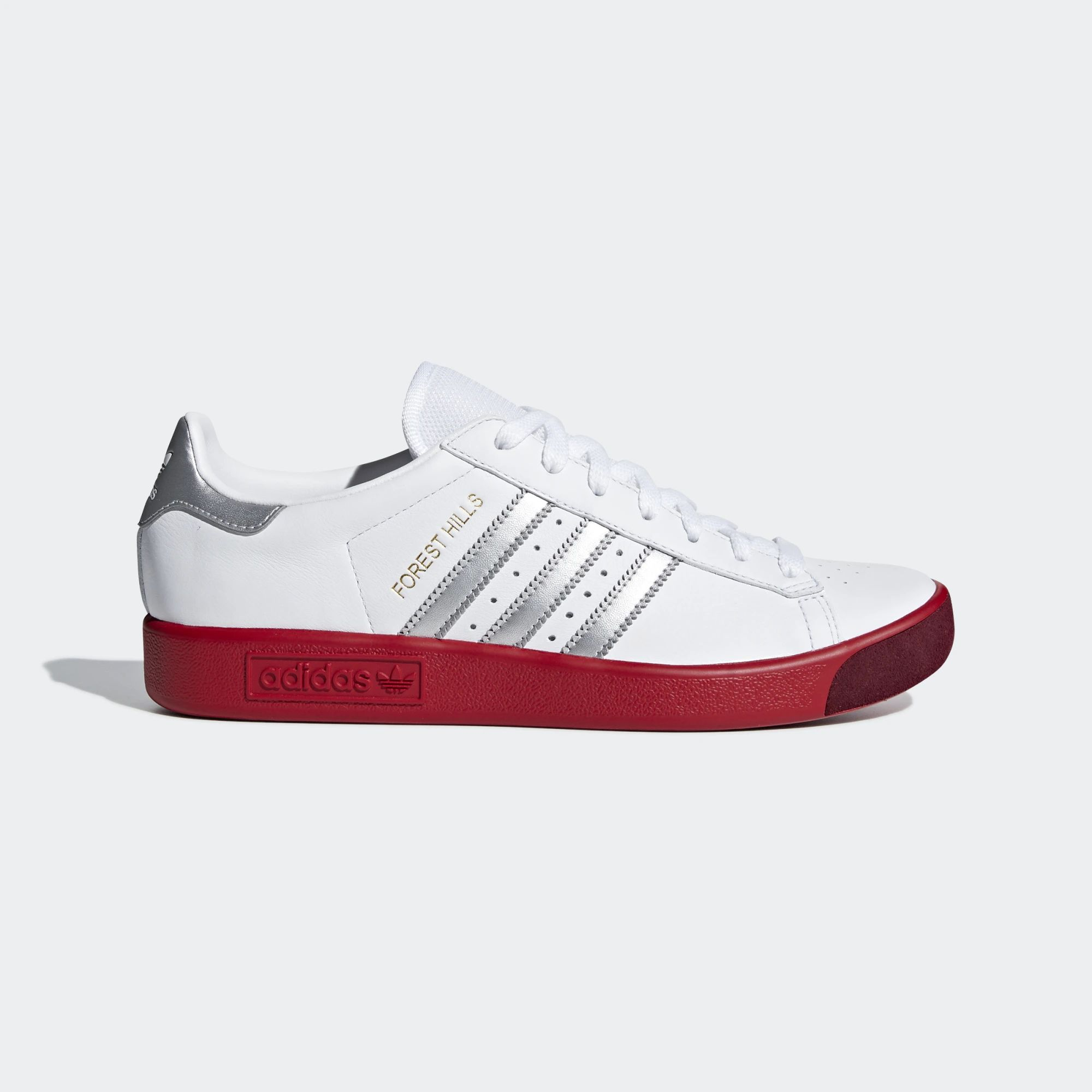 the best attitude 378b3 4b24e Adidas Forest Hills Shoes - Ftwr White  Silver Met  Scarlet