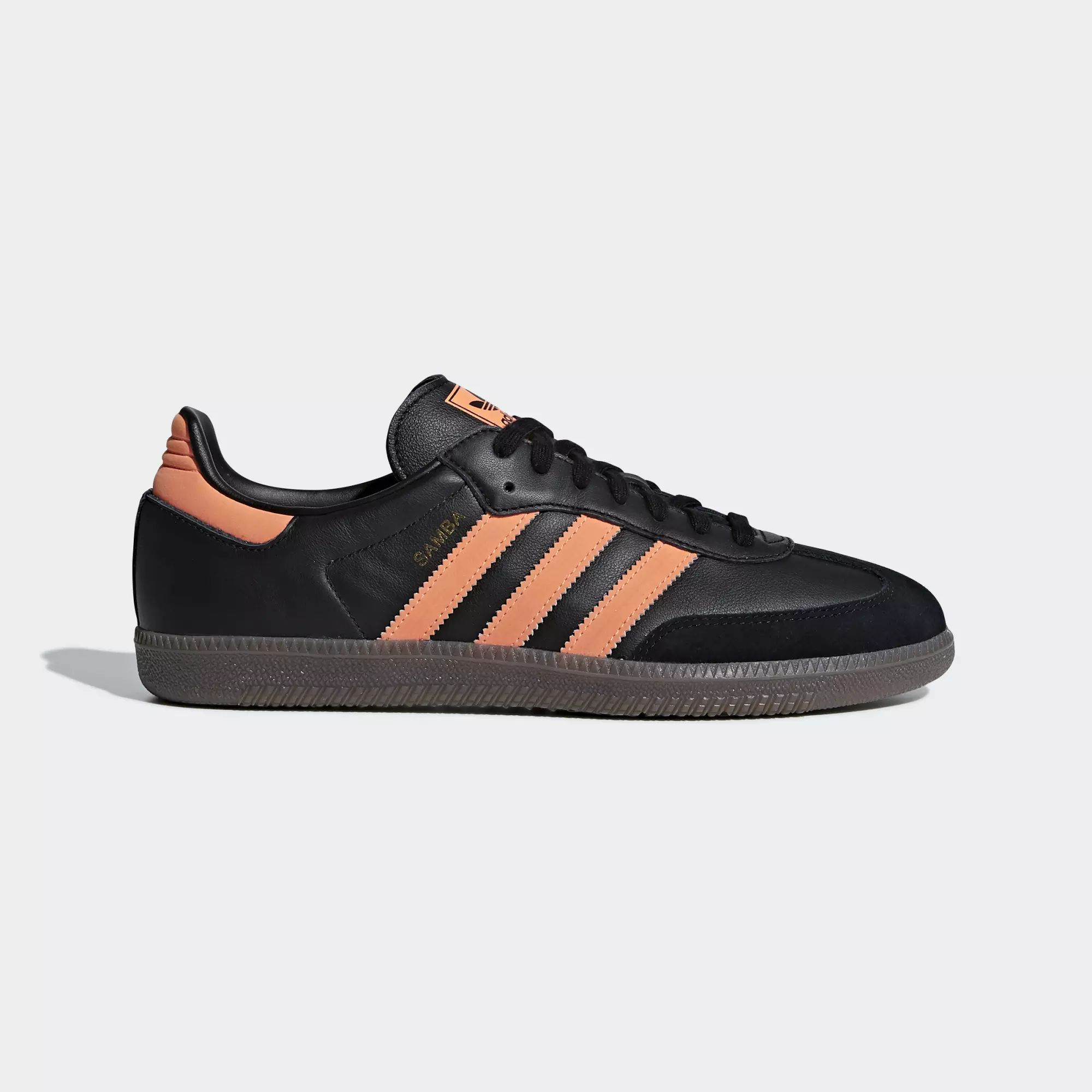 Adidas Samba OG Shoes - Core Black / Hi-Res Orange / Gold Met