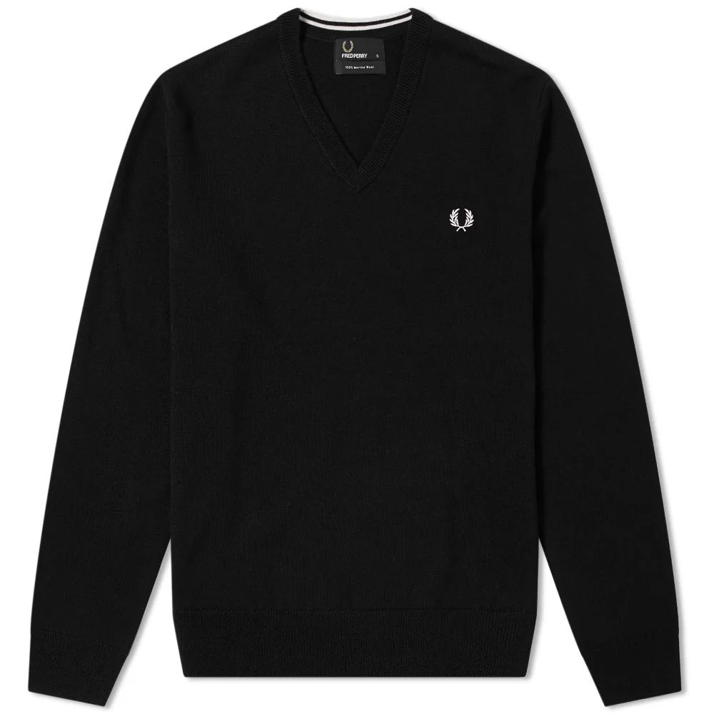 Fred Perry Classic V-Neck Knit - Black