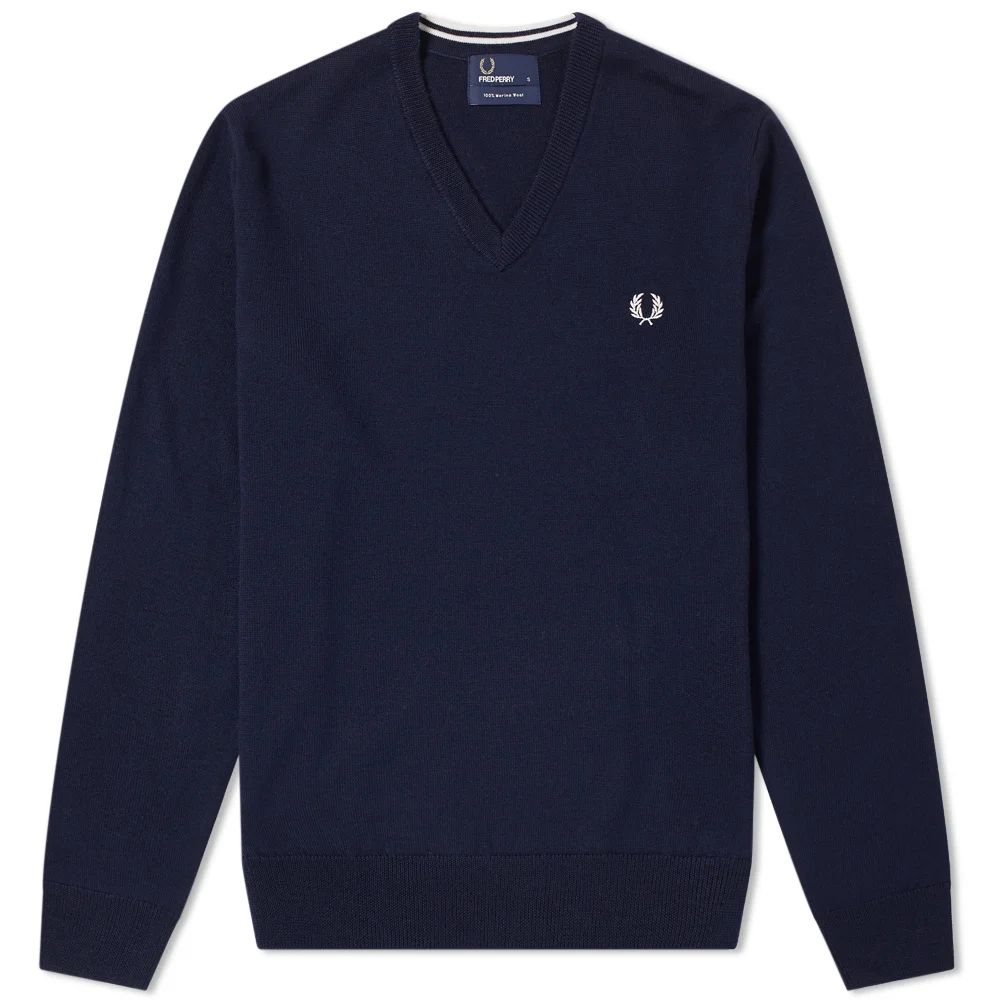 Fred Perry Classic V-Neck Knit - Dark Carbon