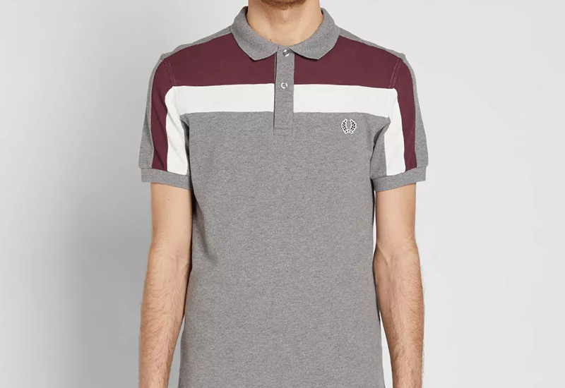 Fred Perry Colour Block Panel Pique Polo - Steel Marl