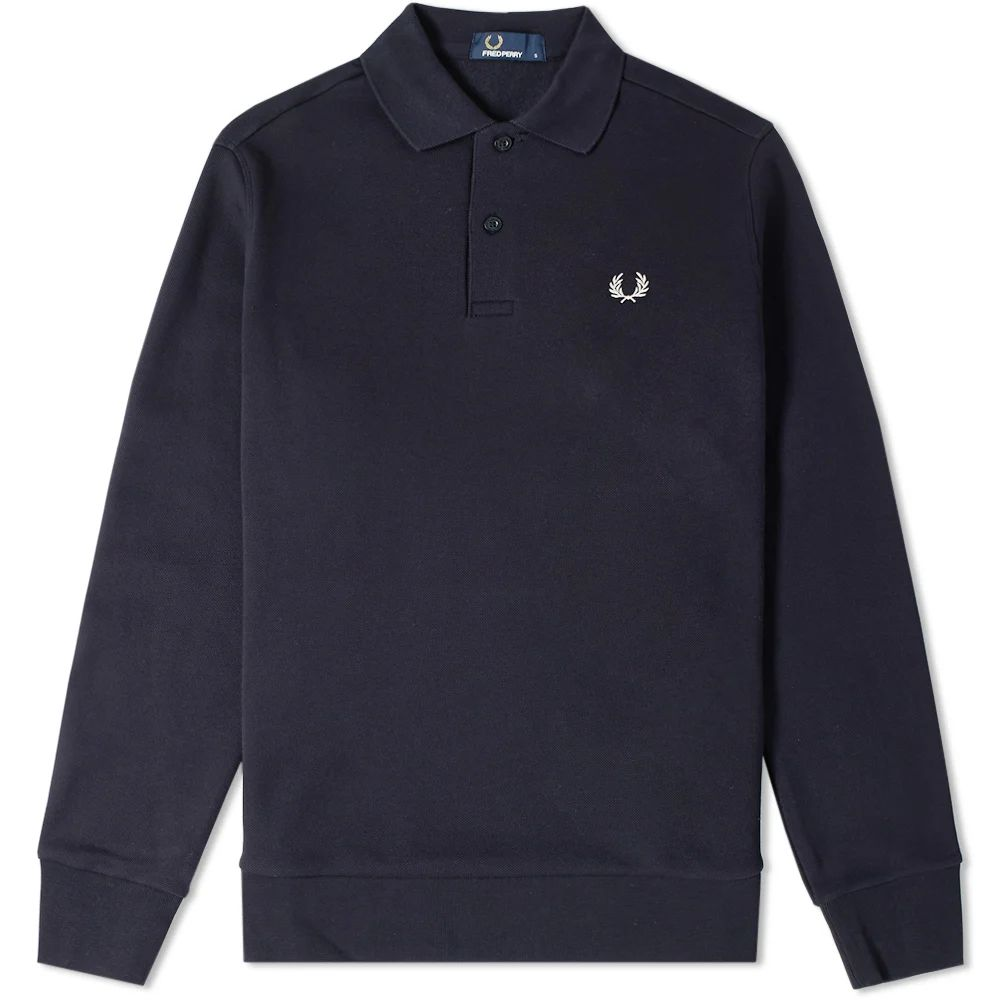 Fred Perry Long Sleeve Fleeceback Polo - Navy
