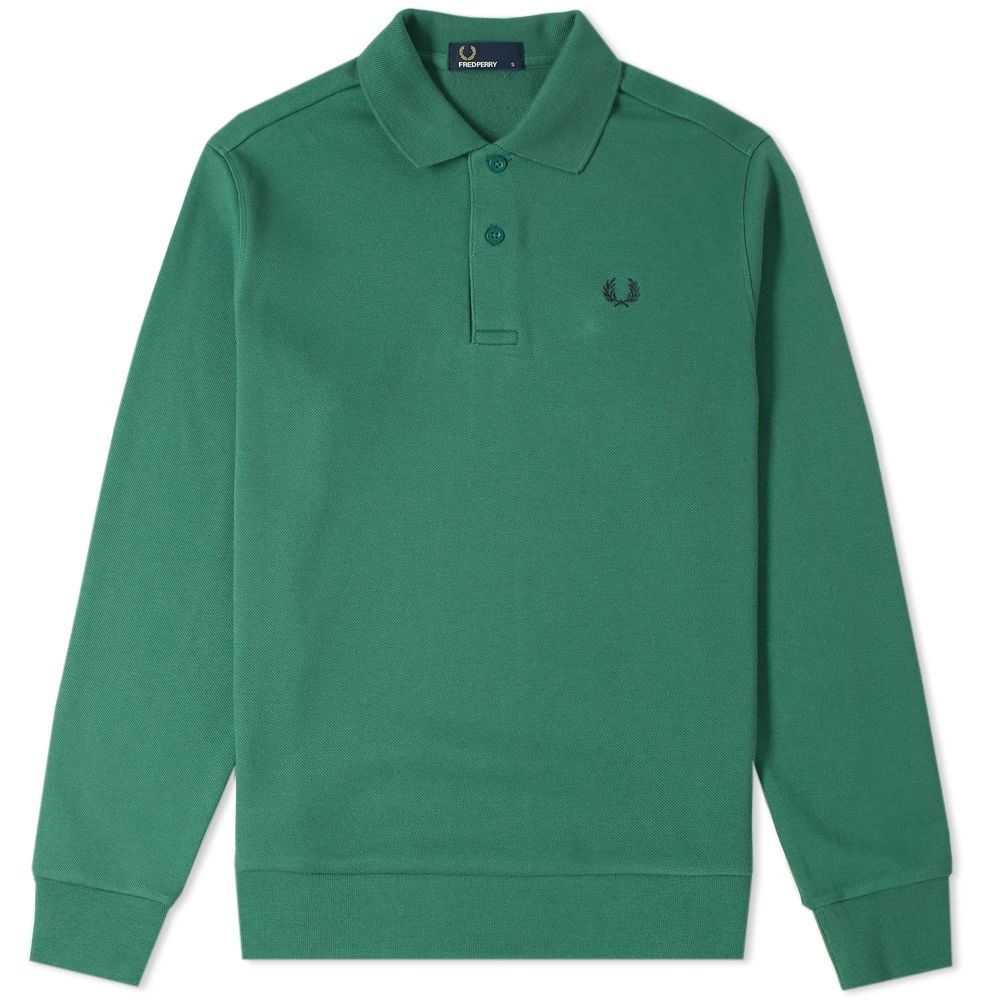 Fred Perry Long Sleeve Fleeceback Polo - Tartan Green