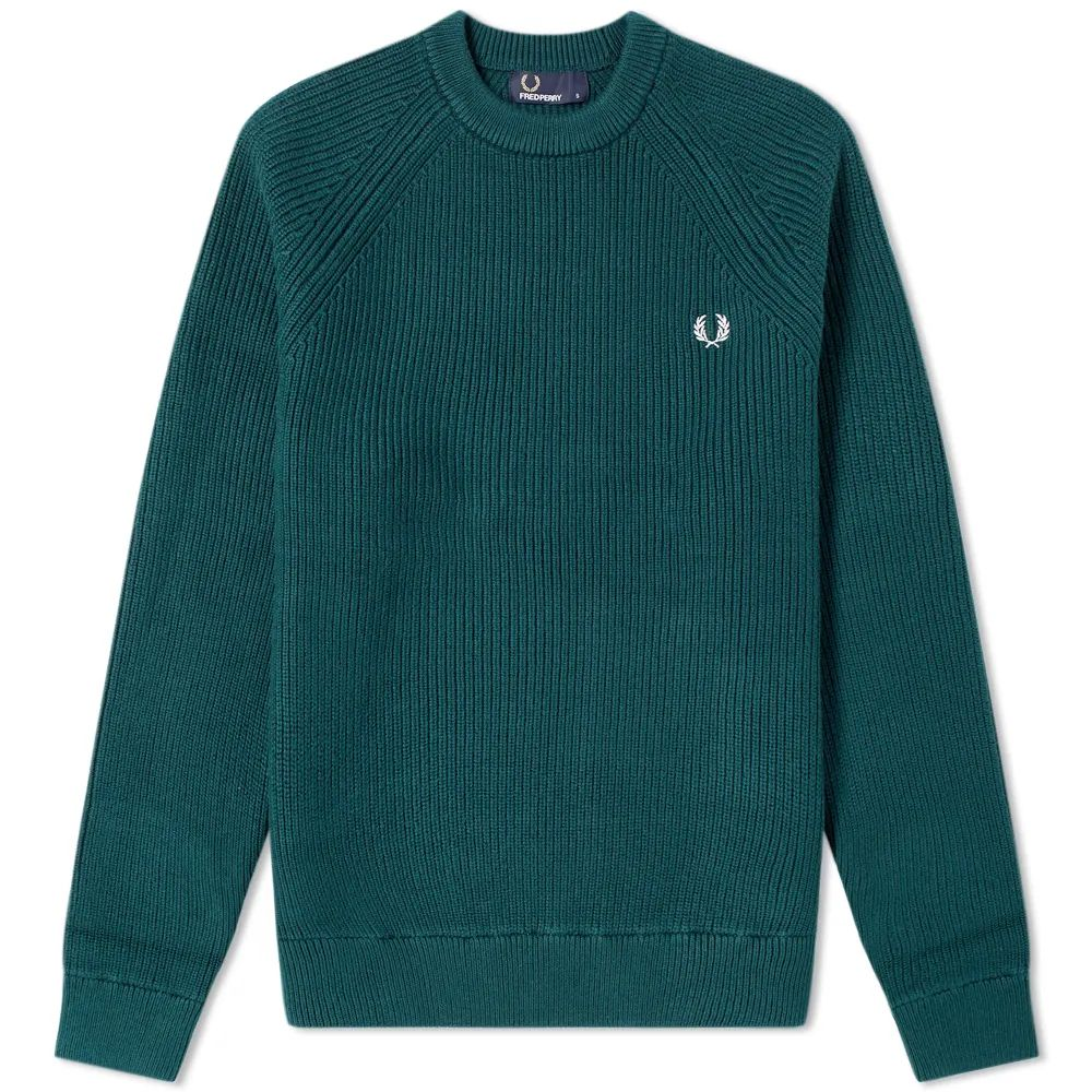 Fred Perry Ribbed Crew Knit - Dark Pine