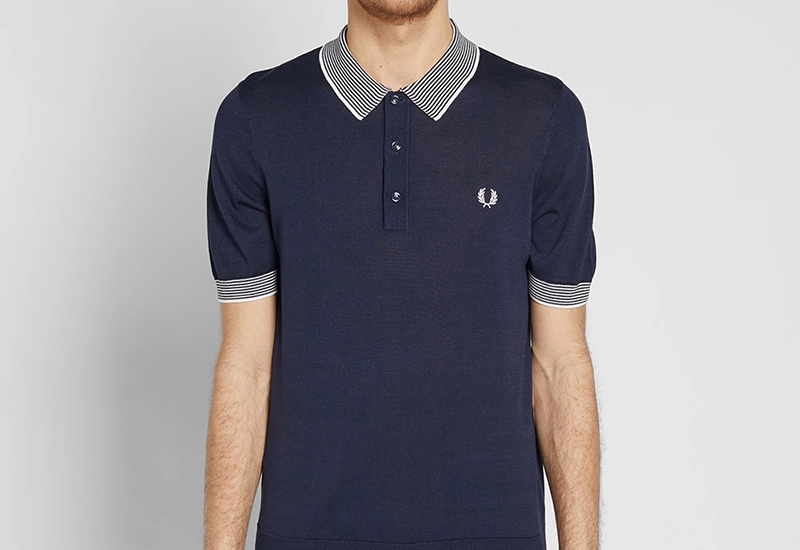 Fred Perry Stripe Trim Knitted Shirt - Deep Carbon