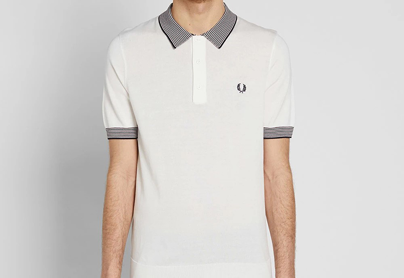 Fred Perry Stripe Trim Knitted Shirt - Snow White