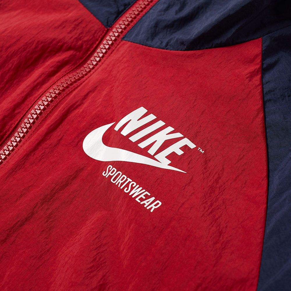 496e370c2656 Nike Half Zip Archive Jacket - Obsidian   Tough Red   Sail
